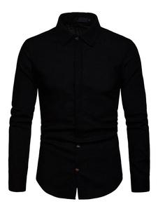 Image of Camicia casual da uomo Camicia a maniche lunghe in cotone con bo