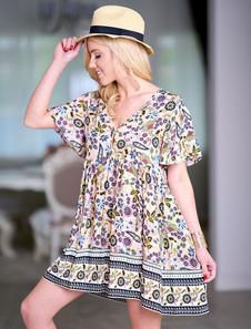 Image of Abito corto Boho Summer Dress manica corta con scollo a V stampa
