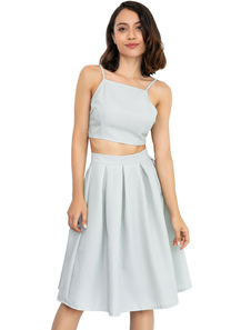 Image of Gonna a righe Set Crop Top da donna con gonna midi