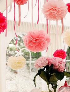 Image of Matrimonio fiore decorazione fiore palla carta palla 5 pezzo