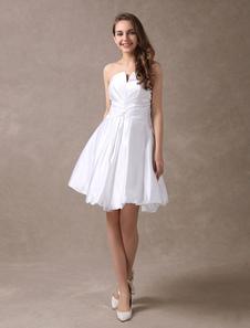 Image of Vestito da sposa bianco satin collo a V gonna da pricipessa al ginocchio