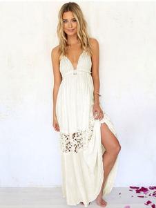 Image of Maxi vestito Backless da donna bianco vestito Split