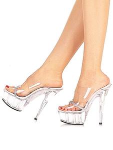 Image of Pantofole sexy trasparenti con plateau tacchi alti strass per do