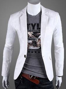 Americanas blazer casual hombre 2018 botón frontal cuello en V chaqueta blanca de algodón