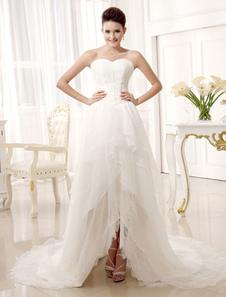 Image of Avorio a-line Sweetheart senza spalline di collo a livelli da sposa abito da sposa