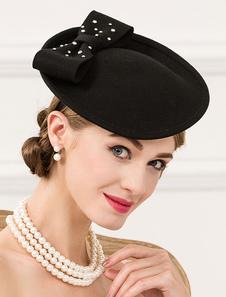Image of Costume Carnevale Cappello di lana Flapper cappello donne fiocco