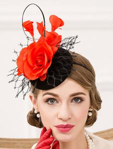 Image of Cappello di lana Flapper cappello fiore netto colore blocco nero