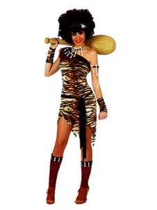 Disfraz de India Sexy Halloween de poliéster de marrón oscuro con collar%26vestido%26cubierta de botas%26Faja elástica%26adorno para la cabeza