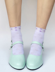 Image of Scarpe da Lolita Menta Verdi rotondo tacco basso e fino zeppa PU smaltato 6.5cm