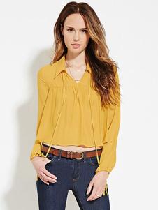 Blusa de Gasa amarillo cobertura Collar manga larga tiras volantes plisado cultivos arriba