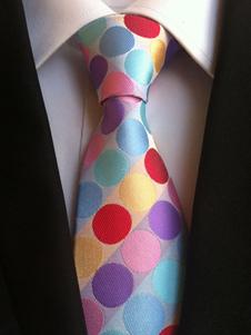Image of Cravatta abito formale a pois azzurra di poliestere