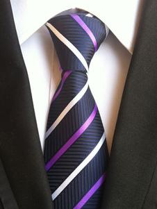 Image of Cravatta abito formale a strisce blu scura di poliestere