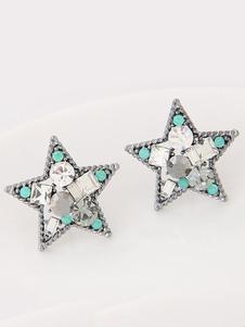 Image of Stud orecchini strass donne perline stella modello orecchio Pins
