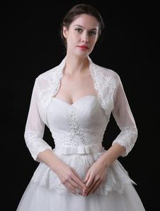 Image of Coprispalle da sposa avorio top pizzo con colletto alla Queen An