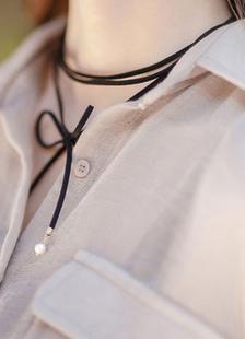 Image of Pelle scamosciata lunga girocollo collana di perle nere Wrap Choker gioielli femminile