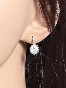 Image of Gli orecchini bianchi degli orecchini della vite prigioniera hanno in rilievo i monili degli orecchini della lega