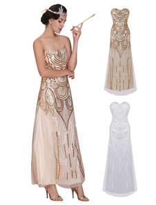 Image of Great Gatsby Flapper Dress 1920s Vintage Costume Women's Sequined Gold Maxi Dress Halloween