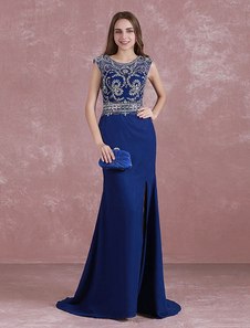 Image of Royal Blue Prom Dress Mermaid Split Graduation Dress Beading Ill
