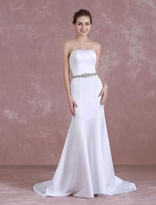 Image of Abiti da sposa in abito da sera 2018 Abito da sposa in raso senza spalline satinata sirena