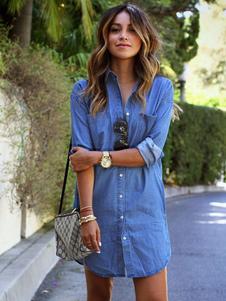 Image of Denim diffusione manica lunga U orlo camicia collo donna con bottoni e tasche