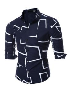 Algodón camisa manga larga de cuello de cobertura Marina de guerra oscuro de hombres impreso camisa Casual