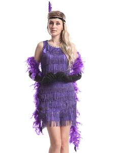 Image of 1920s Flapper Costume Gatsby Vintage Purple Fringe Dress For Wom