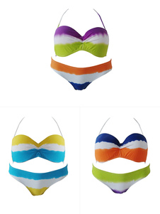 Image of Bikini 2-Pezzi chic & moderno con stampe con annodature con collo arrotondato smanicato lycra spandex