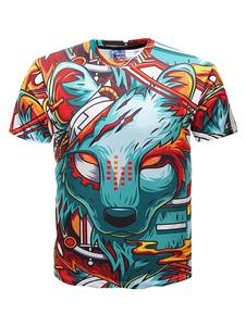 Image of T Shirt Uomo Estate T Shirt Stampa 3D Cartoon Blue Green T Shirt