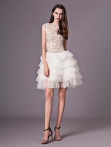 Image of Abbigliamento da sposa con collo rotondo a-linea con perline avorio Milanoo