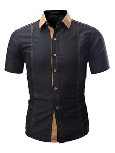 Image of Camicia A Maniche Corte 2019 Camicia Uomo Slim Fit In Camoscio