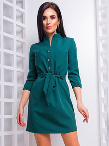 Image of Abito Da Camicia Da Donna 2019 Vestito Mini Da Donna Con Bottoni