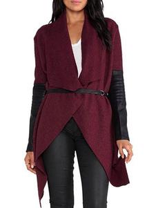 Abrigo de mujer Abrigo de manga larga Cinturón PU Parche de dobladillo irregular Cascada