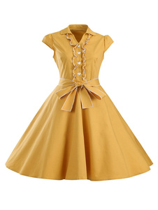 Image of Con scollo a v manica corta giallo abiti da donna archi Abiti Ca