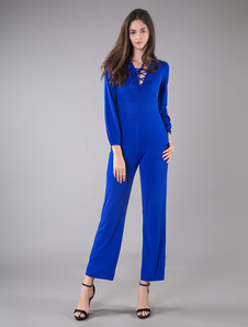 Women Blue Jumpsuit Long Sleeve V Neck Lace Up Wide Leg Jumpsuit thumbnail