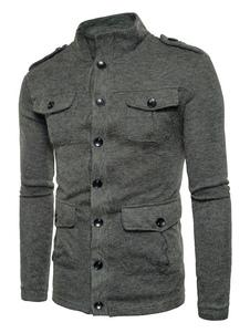 Brown Sweater Cardigan Hombres Collar de manga larga Regular Regular Fit Cotton Sweater