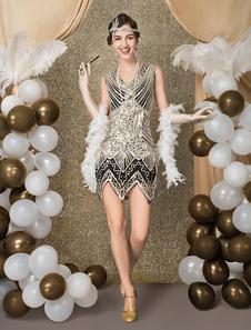 1920 traje del vestido de lentejuelas de la aleta del zigzag de corte corto vestido del traje de Halloween2018 de las grandes mujeres Gatsby Vintage