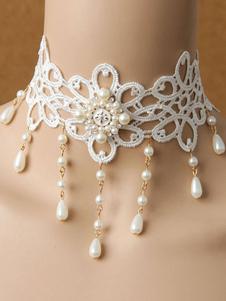 Image of Collana classica Lolita Collana girocollo floreale in lilla bian