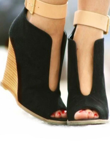 Image of Women Wedge Sandals Suede Peep Toe Patchwork Ankle Strap Sandal
