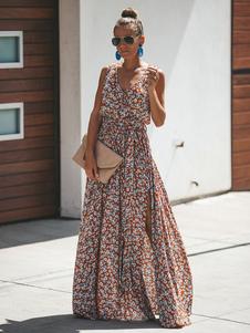 Image of Vestito lungo da donna 2019 Abito estivo floreale con scollo a V