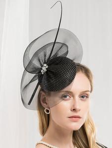 Image of Fascinator vintage cappello donna nero cappello retrò accessori