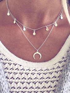 Image of Collana con pendente in argento a catena con collana a mezzaluna