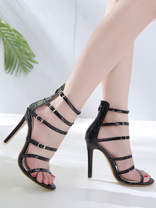 Image of High Heel Sandals Black Open Toe Buckle Detail Strappy Sandal Sh