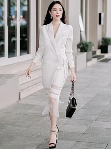 Image of Abito blazer bianco Abito manica lunga con scollo a V Abito in p