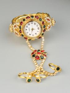 Bracelet en or montre doigt bague strass fleur montre-bracelet c