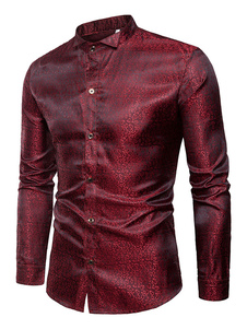Image of Camicia casual da uomo 2020 Camicia elegante bordeaux per uomo m