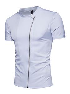 Image of Camicia uomo manica corta camicia casual bianca con colletto all