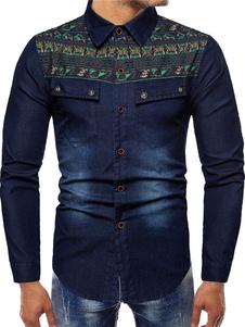 Image of Camicia per uomo Camicia casual a maniche lunghe blu scuro con r