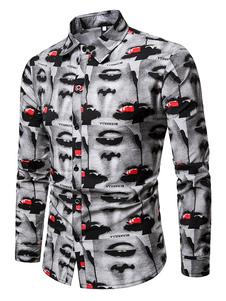 Image of Camicia a maniche lunghe Camicia casual uomo grigio chiaro