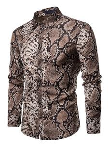 Image of Camicia casual da uomo con camicia stampata a bottoni marrone sc