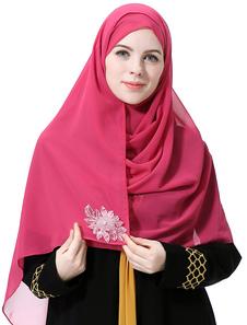 Image of Foulard etnico in chiffon con applicazioni Hijab per donna